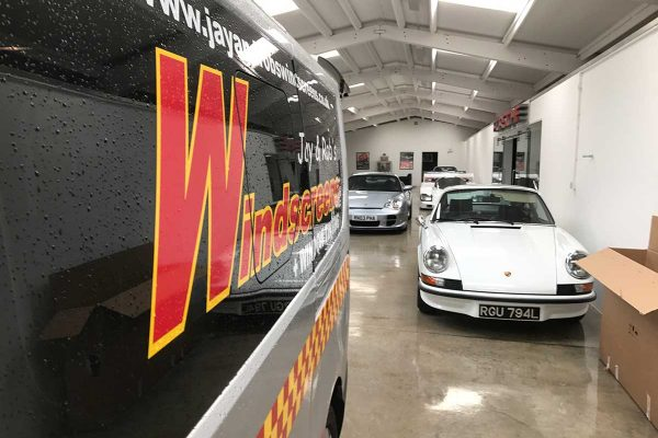 workshop with classic cars